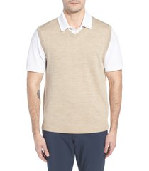 men's cutter & buck 'douglas' merino wool blend v-neck sweater vest, size large - beige (online only)