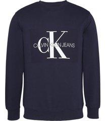 buzo azul calvin klein core monogram logo sweatshirt