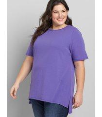 lane bryant women's perfect sleeve step-hem tunic 10/12 purple opulence