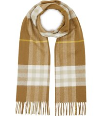 burberry cashmere classic check scarf - neutrals