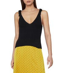 bcbgmaxazria women's ribbed bow tie tank top - black - size l