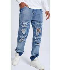 hombres hip hop style streetwear zip front big ripped jeans