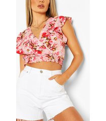 floral print wrap over top, pink