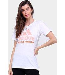 camiseta adidas cidade rio de janeiro feminina - feminino