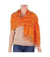 cotton shawl, 'embraced by love in orange' (nicaragua)