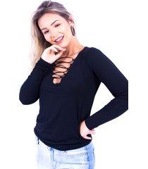 blusa up side wear tira cruzada preta