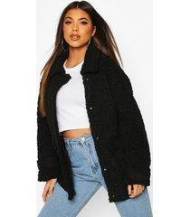 pluizige faux fur trucker jas met zak detail, zwart
