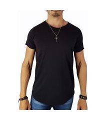 camiseta long line malha lisa masculina despojada preto m preto
