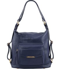 tuscany leather tl141535 tl bag - borsa donna in pelle convertibile a zaino blu scuro
