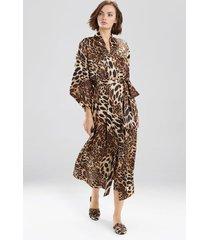 natori luxe leopard sleep/lounge/bath wrap/robe, women's, chestnut, size l natori