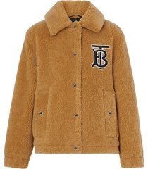 burberry monogram motif fleece jacket - brown