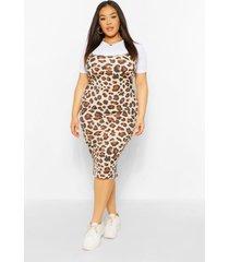 plus leopard 2 in 1 pinafore dress, tan