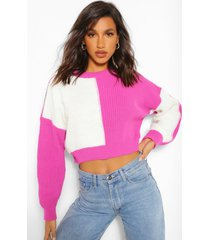 colourblock cropped sweater, pink