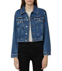 hudson jeans crop denim trucker jacket, size large in moonstruck at nordstrom