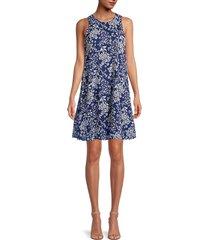 calvin klein women's floral sleeveless a-line dress - indigo multi - size 16