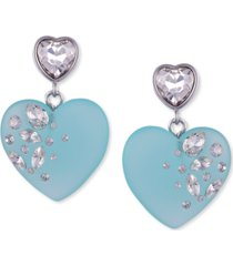 guess crystal-frosted heart drop earrings