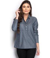 camisa camisete feminina jeans bolso manga longa casual - feminino
