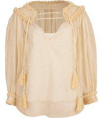 silk linen peasant blouse