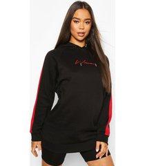 oversized hoodiemet print voor dames, zwart