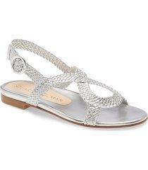 women's stuart weitzman teodora braided metallic slingback sandal