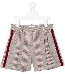 monnalisa plaid check velvet-trim shorts - pink