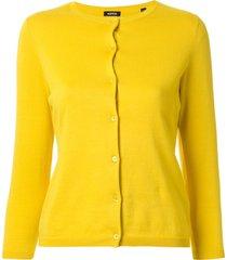 aspesi cropped slim fit cardigan - yellow
