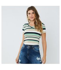 t-shirt feminina eloa listrada verde
