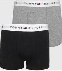 kit 2pçs cueca tommy hilfiger boxer lettering preto/cinza