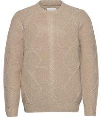 karl crew neck knit stickad tröja m. rund krage beige casual friday