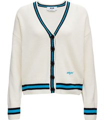 msgm white wool and cashmere cardigan with contrast profiles