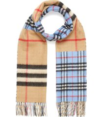 vintage giant check cashmere wool blend scarf