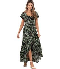 vestido tropico negro ragged pf11510962