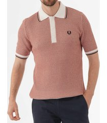 fred perry two colour texture knit polo shirt - snow white & paprika k5310-h7