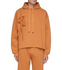 gun pouch flap pocket harness detail overlay cotton hoodie