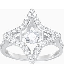 anello sparkling dance star, bianco, placcatura rodio