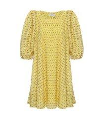 vestido mini manga puff - amarelo