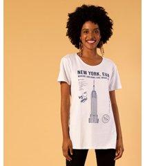 t-shirt alongada estampa new york unica p branco