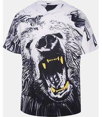 t-shirt casual a manica corta con scollo a v in tinta unita stampata 3d da uomo