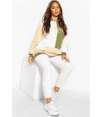 colourblock hoodie met tekst, light khaki