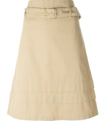 romeo gigli pre-owned belted a-line skirt - neutrals