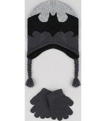 kit infantil de gorro batman + luva em tricô cinza mescla escuro