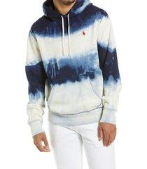 men's polo ralph lauren men's tie dye hoodie, size medium - blue