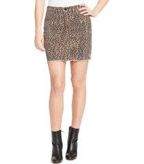 william rast wild cheetah jean skirt