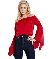 blusa off shldr hayden top rojo guess
