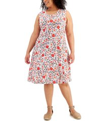 style & co plus size floral-print flip-flop dress, created for macy's