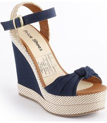 sandalia plataforma para dama color azul 882p08azul
