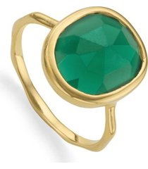 gold siren medium stacking ring green onyx