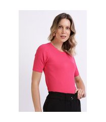 blusa feminina básica canelada manga curta decote redondo rosa