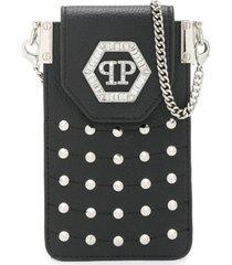 philipp plein bolsa com aplicação hexagonal - preto
