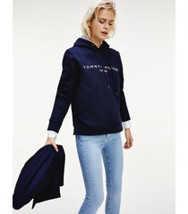 tommy hilfiger women's relaxed fit logo hoodie desert sky - xs